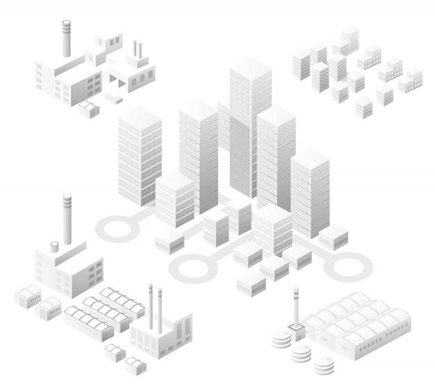 Isométrica conjunto cidade branca com arranha-céus com casas