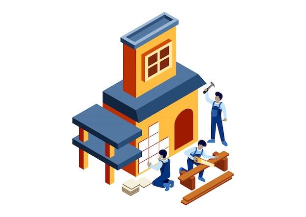 Isométrica construir uma casa