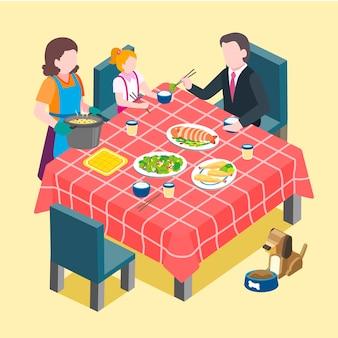 Isométrica da cena de reunião familiar