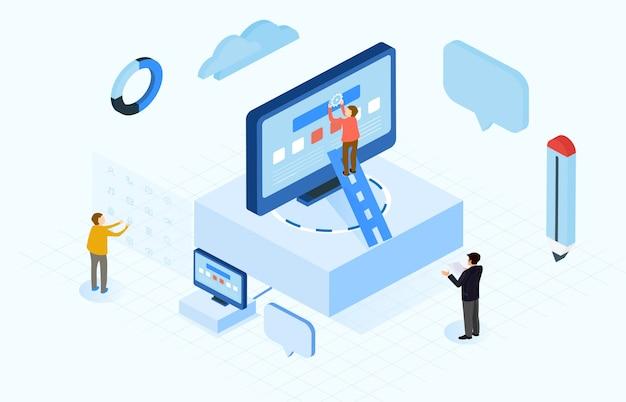 Isométrica da construção de internet