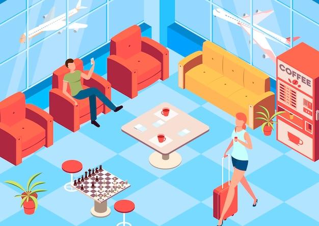 Isométrica da sala de espera do aeroporto vip com símbolos de xadrez e máquina de café