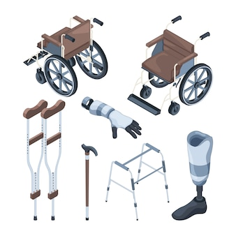 Isométrica de cadeira de rodas e outros vários objetos para pessoas com deficiência