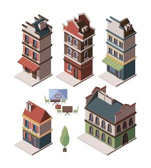 Isométrica de casa velha. conjunto de vetores de edifícios medievais portões reais retro apartamento construções antigas. ilustração de construção de casa isométrica, habitação residencial
