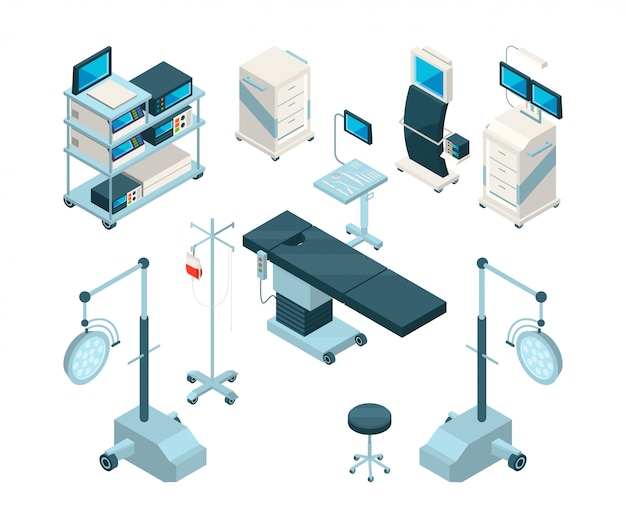 Isométrica de equipamentos médicos na sala de cirurgia