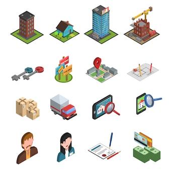Isométrica de ícone de imobiliária
