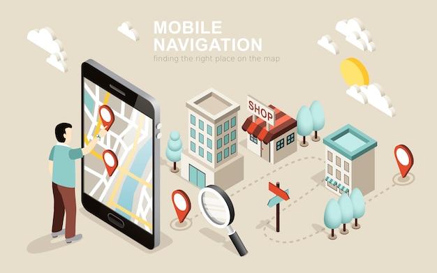 Isométrica de navegação móvel