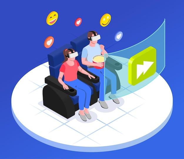 Isométrica de realidade aumentada virtual com casal sentado no sofá com emoticons, pipoca e óculos de vr