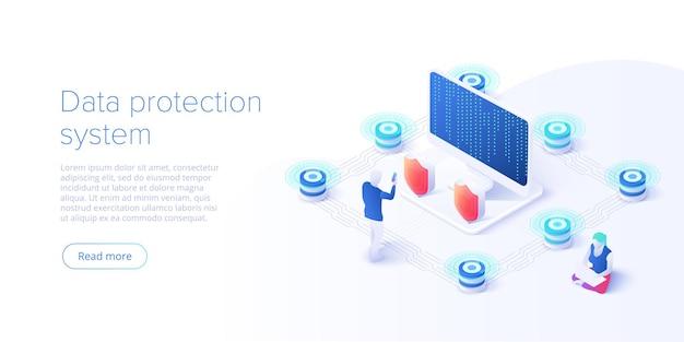 Isométrica de segurança de dados de rede.