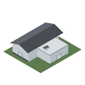 Isométrica de um edifício industrial para a fabricação de produtos