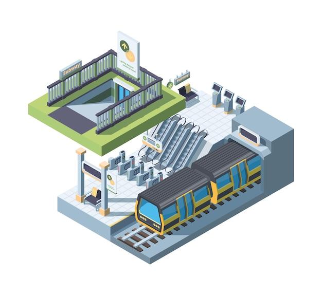 Isométrica detalhada da entrada do metrô da cidade moderna. plataforma subterrânea vazia com trem. cena do tubo com portões de ingressos. sistema ferroviário suburbano. conceito de meio de transporte urbano em 3d