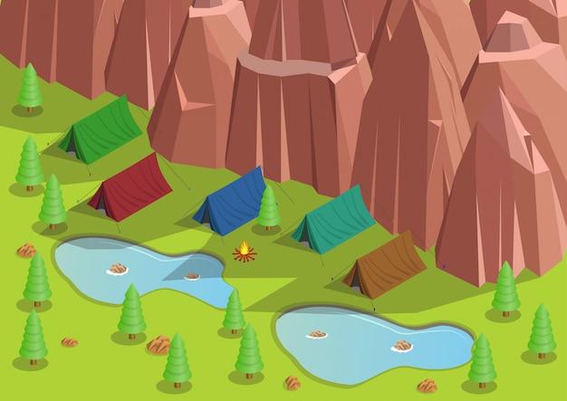 Isométrica do acampamento na floresta.
