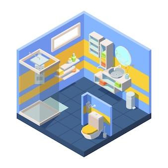 Isométrica do banheiro. conceito de banheiro compacto banheiro com chuveiro fechado atrás da divisória, canto com espelho e prateleiras de lavatório combinadas para guardar toalhas, shampoo, sabonete