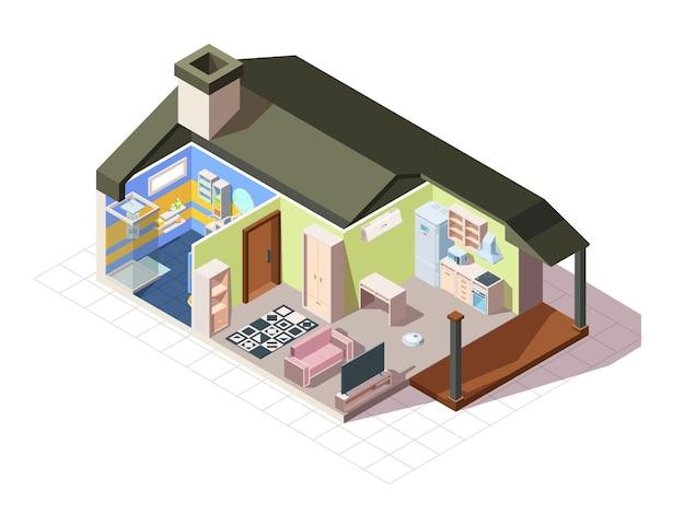 Isométrica do quarto da casa infográfico.