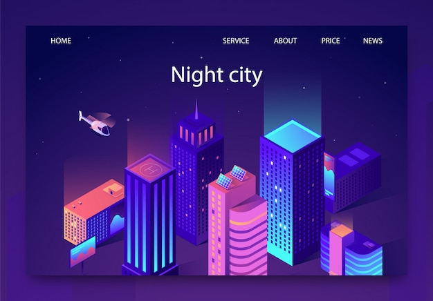 Isométrica é escrita night city landing page.