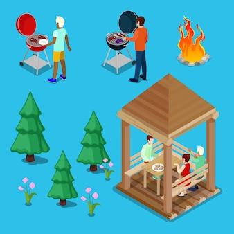 Isométrica família grill churrasco pessoas cozinhando carne.