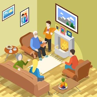Isométrica família passatempo casa lareira café tempo gastando relaxar conceito