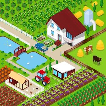 Isométrica fazenda rural campo agrícola com animais e casa. ilustração