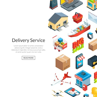 Isométrica fundo logística e ícones de entrega