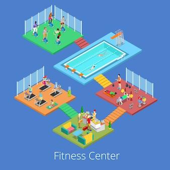 Isométrica ginásio fitness club sport center interior com sala de cardio, ginásio e piscina de água. ilustração