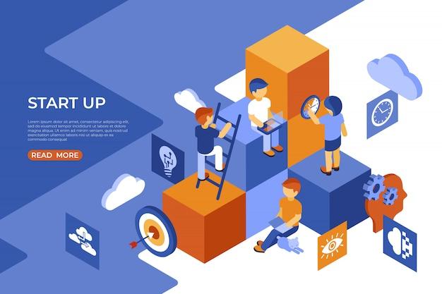 Isométrica iniciar infográficos de negócios de pessoas