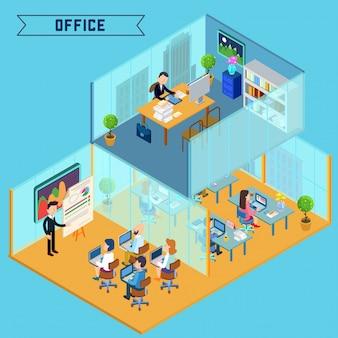 Isométrica interior do escritório moderno