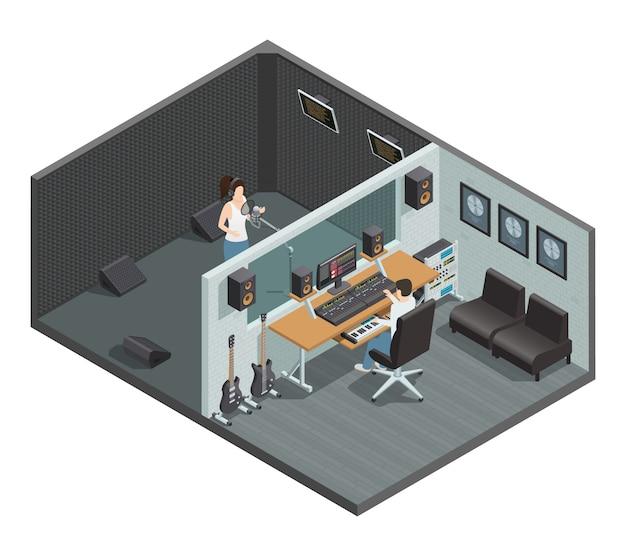 Isométrica interior do estúdio de música com cabine à prova de som para sala de controle de gravação vocal e as pessoas