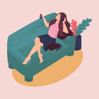 Isométrica jovem passa fins de semana em casa, deitado no sofá, sofá, ouvindo música, amigo de gato. ilustração de cor em estilo simples