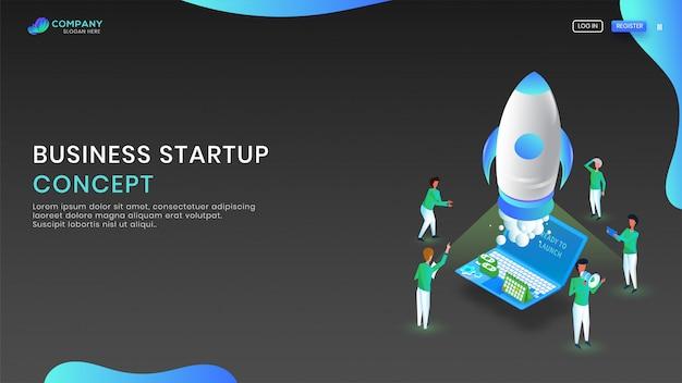 Isométrica laptop com foguete para negócios start up conceito.