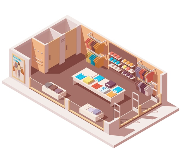 Isométrica loja de roupas interior cutaway