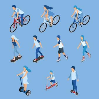 Isométrica menino, menina e criança andando de bicicleta