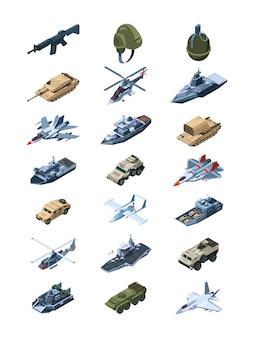Isométrica militar. guardas de segurança em soldados uniformes com tanques metralhadoras de veículos todo-o-terreno granadas escudos coleção