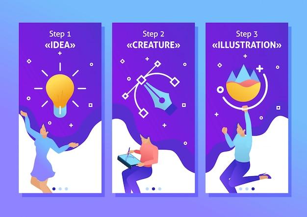 Isométrica modelo app conceito garota er trabalha, desenha, sonha, cria design. ilustrador freelancer, aplicativos de smartphone. fácil de editar e personalizar