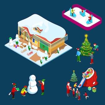 Isométrica natal decorada casa com árvore de natal, papai noel, crianças e boneco de neve. ilustração