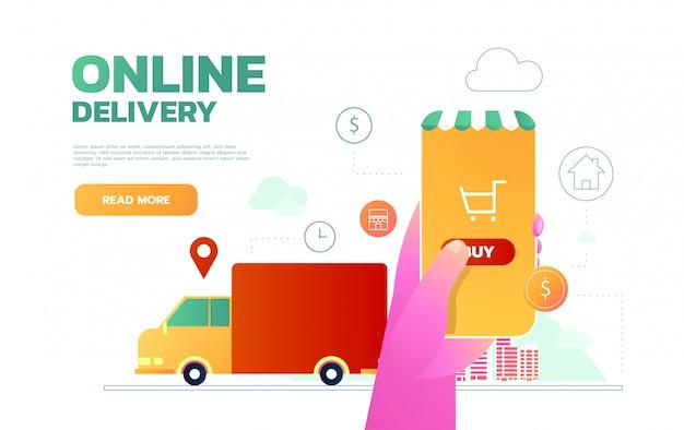 Isométrica online express, entrega grátis, rápida, conceito de envio. verificando o aplicativo de serviço de entrega no celular. caminhão de entrega.