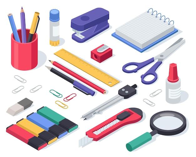 Isométrica papelaria material escolar cola caderno caneta tesoura grampeador régua borracha conjunto vetor