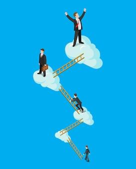 Isométrica plana da escada do sucesso da nuvem