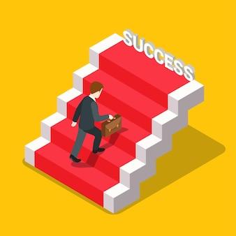 Isométrica plana da escada do sucesso