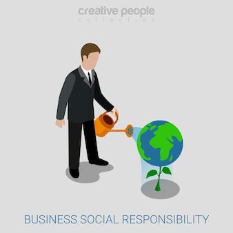 Isométrica plana de responsabilidade social de negócios corporativos