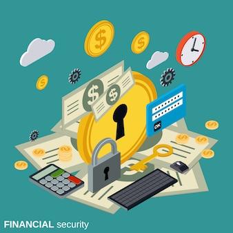 Isométrica plana de segurança financeira
