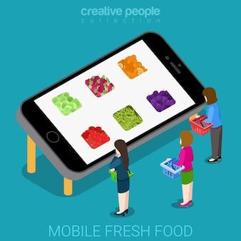 Isométrica plana do mercado móvel de boa agricultura fresca