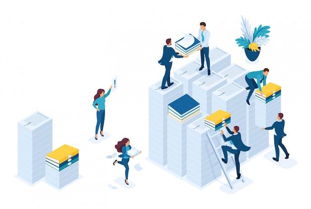 Isométrica preparação de relatórios fiscais, agentes fiscais verificam os documentos.