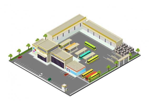 Isométrica representando estação de ônibus