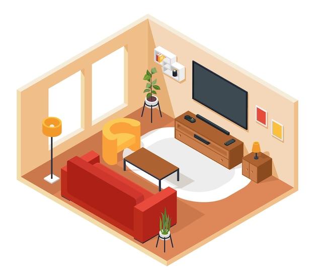 Isométrica sala de estar interior do salão com mobília, sofá, cadeira, tv, mesa, planta, tapete, conceito