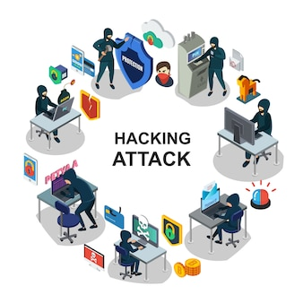 Isométrica, segurança internet, redondo, composição, com, hackers, computador, servidores móveis, laptop, atm, cartão pagamento, hacking, sirene, trojan, bomba, escudos