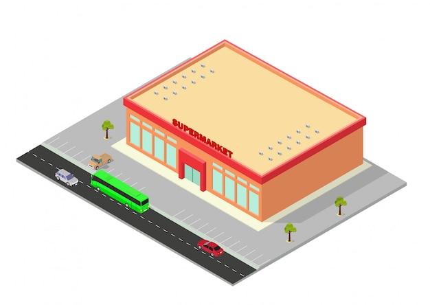 Isométrica, shopping, ou, supermercado, predios, ícone