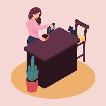 Isométrica, uma jovem passa o fim de semana em casa, cuidando da comida de gato de estimação para gatos, cozinha. ilustração de cor em estilo simples