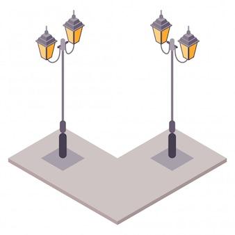 Isométrica velha clássica vintage poste com estilo europeu