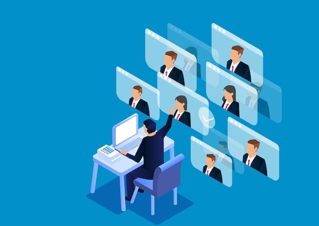 Isométrica videoconferência conferência online trabalho comunicação online ilustração estoque