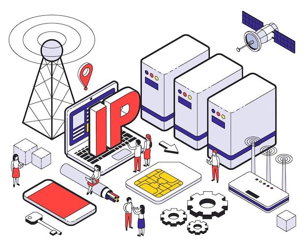 Isométrica web hosting conceito colorido com diferentes elementos de hospedagem e ferramentas digitais
