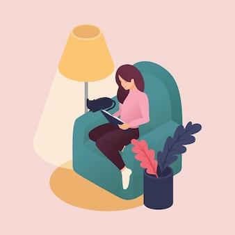 Isométricas jovens mulheres passar o fim de semana em casa, lendo livros, cuidados com os animais, gato amigo. ilustração colorida em estilo simples